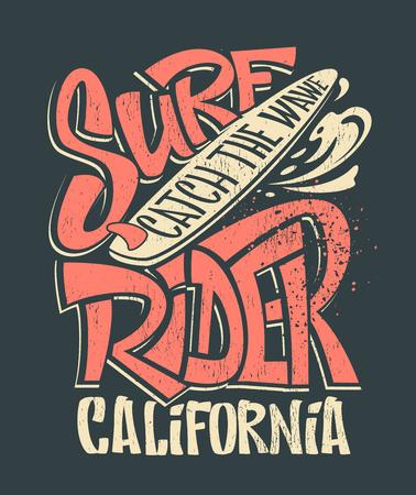 Surf rider print. T-shirt graphic design vector illustration. Stock Illustratie
