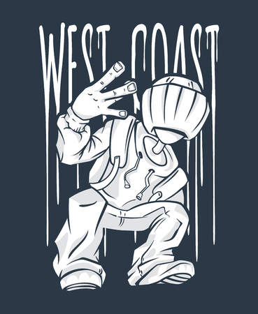 West Coast Guy Hip-Hop hand gesture. rap sign.