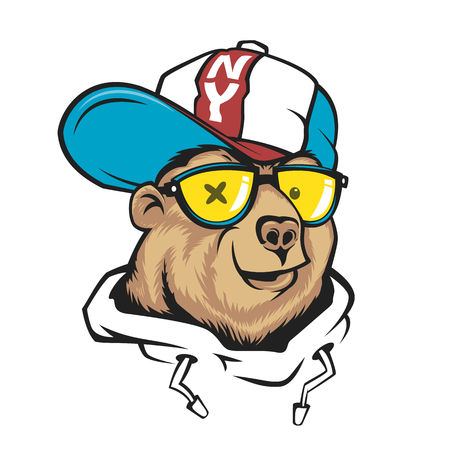 Bear in cap vector print design for t-shirt. Stock fotó - 94468986