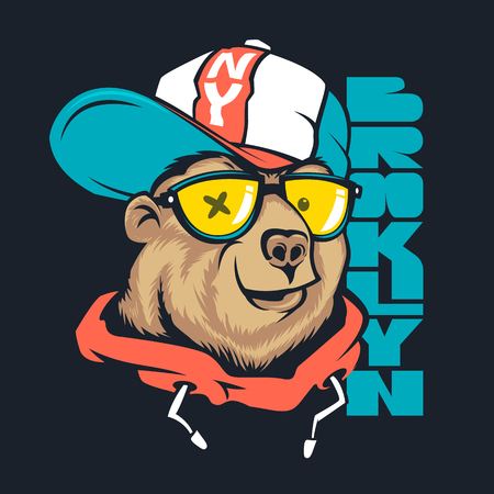 Bear in cap vector print design for t-shirt.