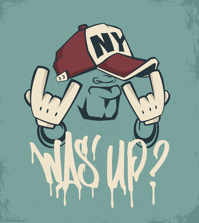 Cool man in cap, hip hop face vector print design. Çizim