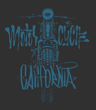 Vintage Motorcycle hand drawn vector t-shirt 向量圖像