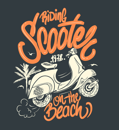 Scooter on the beach, hand drawn illustration, t-shirt print