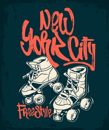 Roller skates on a grunge background T-shirt print. Vettoriali