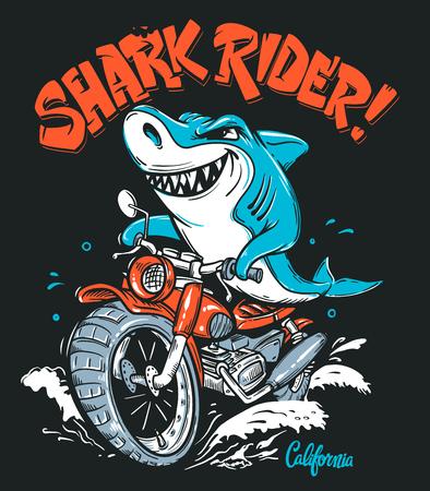 Shark Rider on motorcycle vector T-Shirt design Vector Illustration