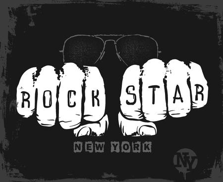 rock star graphic design , vector illustration t-shirt print Illustration