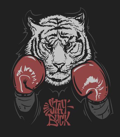 Tijger in bokshandschoenen en belettering printontwerp voor een t-shirt