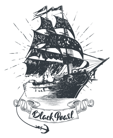 Pirate ship - hand drawn vector illustration, Black pearl lettering Stock Illustratie