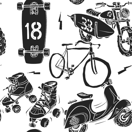 Seamless pattern with motorbike surfboard skate roller moped and bicycle. Illustration