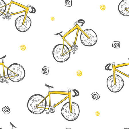 bicycle seamless doodle pattern, hand drawn vector