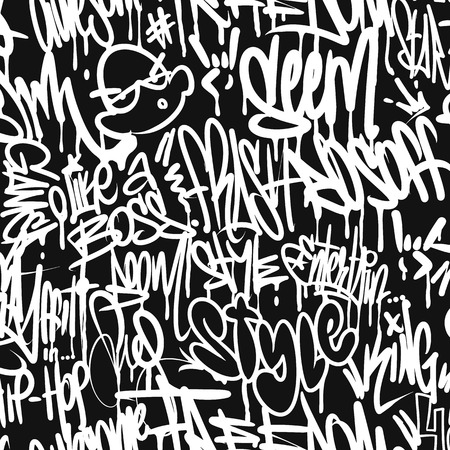 Vector graffiti tags seamless pattern, print design