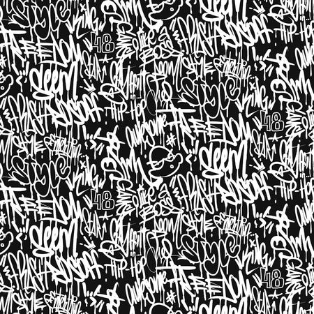Vector graffiti tags seamless pattern, print design