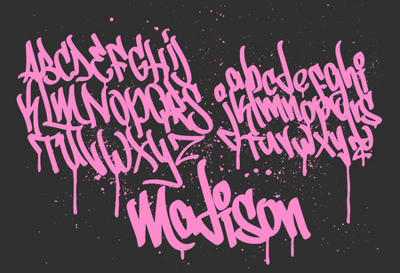 Marker Graffiti Font, handwritten Typography vector illustration Stok Fotoğraf - 110259537