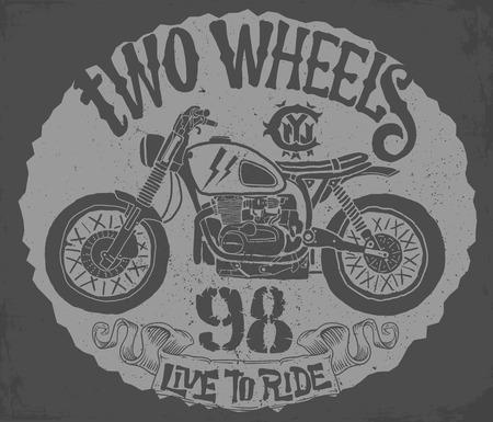 Vintage Motorcycle hand drawn vector t-shirt design.