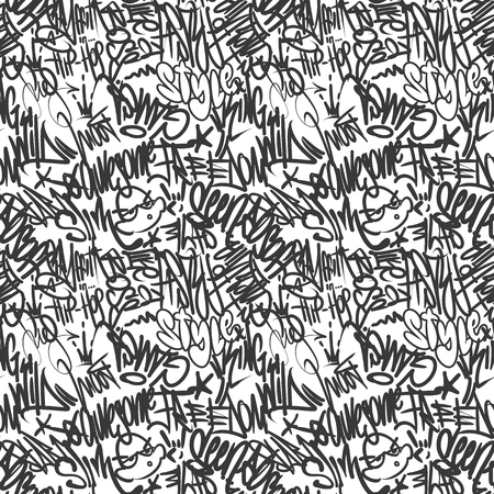 Vector graffiti tags seamless pattern, print design Vector Illustration