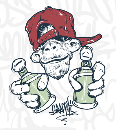 Monkey in cap holding a spray paint, vector print design for t-shirt.