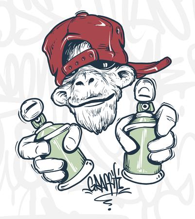 Mono con gorra sosteniendo una pintura en aerosol, diseño de impresión vectorial para camiseta.
