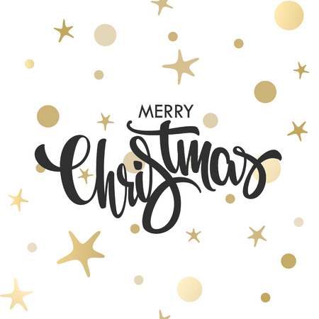 Christmas hand drawn gold lettering design. Vector illustration