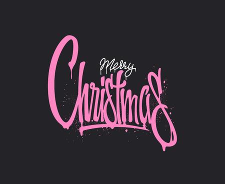 Christmas hand drawn lettering design. Vector illustration