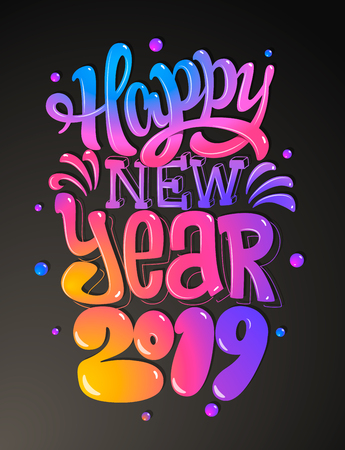 Happy new 2019 year. Colorful lettering design. Vector illustration