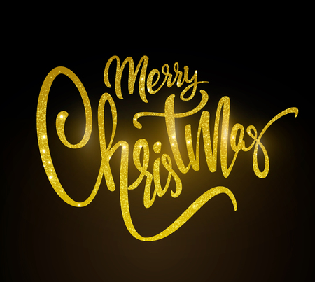 Golden text Merry Christmas lettering for invitation and greeting card, prints and posters. Hand drawn inscription. Ilustracja