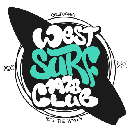 Surf graphic T-shirt Printing Lettering Vector Design. Ilustracja