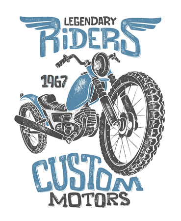 Vintage Motorcycle hand drawn vector t-shirt print design.