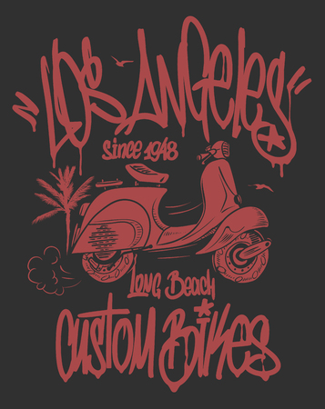 Los Angeles graffiti tag and scooter hand drawn vector t-shirt design Ilustracja