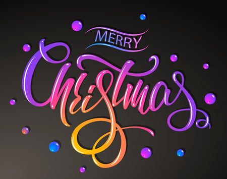 Merry Christmas 2019 year. Colorful lettering design. Vector illustration Ilustrace