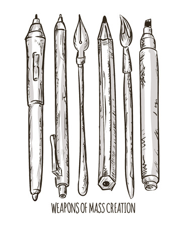 Fountain pen and Brush tools, vector illustration