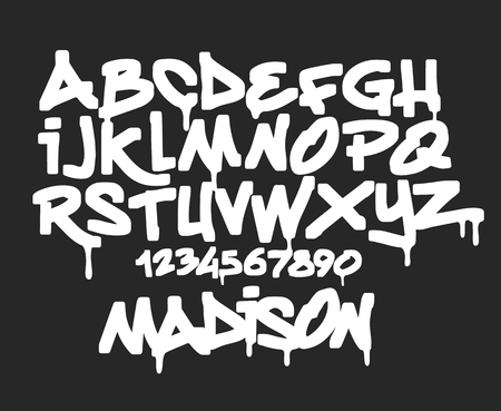 Marker Graffiti Font, handwritten Typography vector illustration