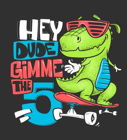 Conception d'impression de t-shirt urbain dinosaure skateboard, illustration vectorielle