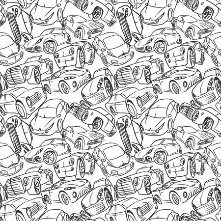Seamless pattern with handwritten cars. Vector illustration