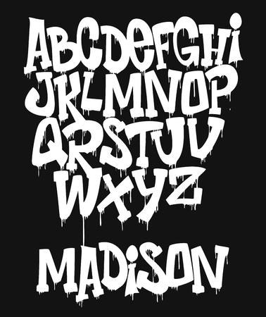 Marker Graffiti Font handwritten Typography vector illustration