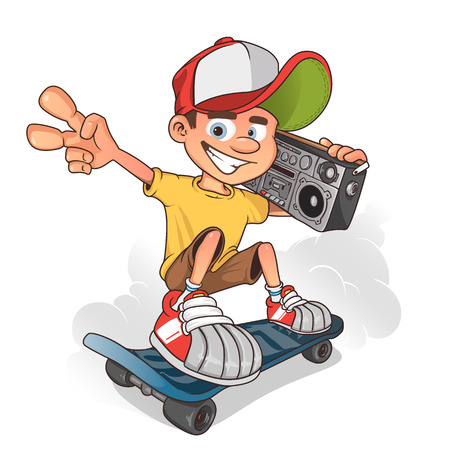 Cool boy skater with ghetto blaster, vector cartoon character.