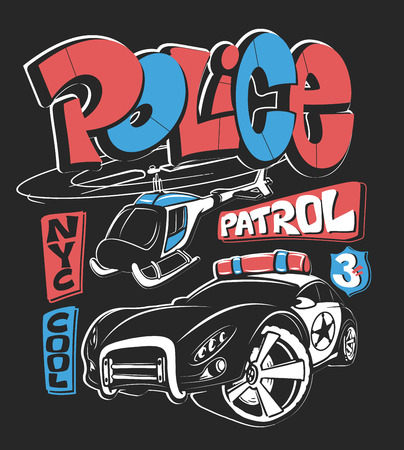 Police patrol car with helicopter, vector shirt print illustration. Иллюстрация