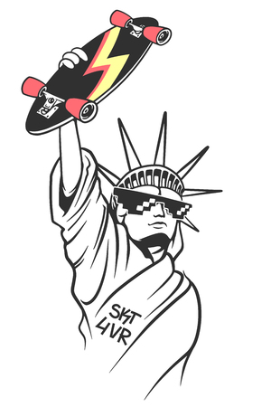 Statue of liberty holds skate in hand, Skate board typography, t-shirt graphics Ilustracja