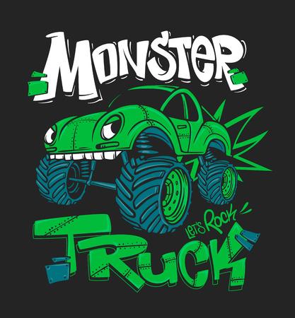 Camión monstruo. Ilustración de vector para estampados de camisetas