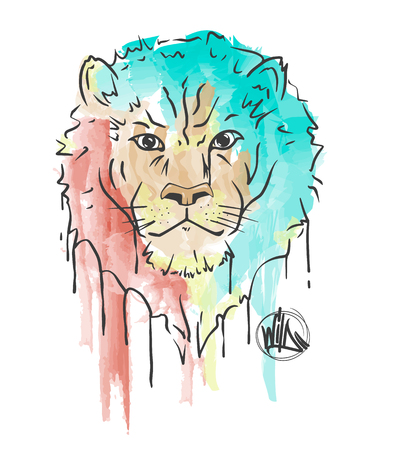 Lion hand painted watercolor illustration isolated on white background.