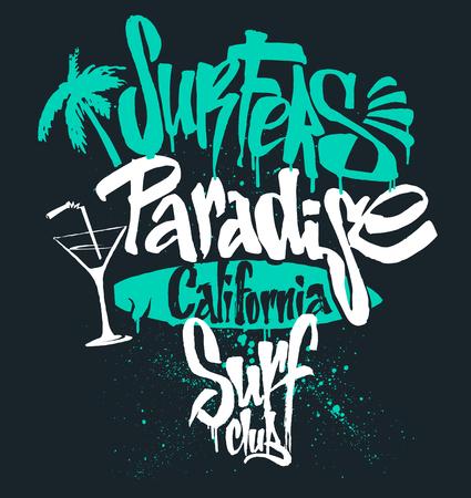 Surf paradise lettering, t-shirt graphics vectors.