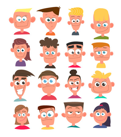 Characters avatars in cartoon flat style. Vector.