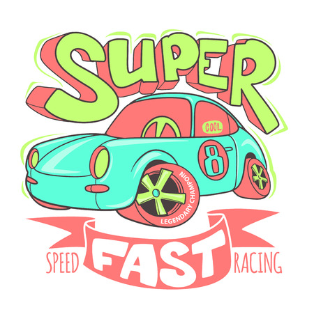 Little Super Car vector T-shirt Design and other uses Ilustrace