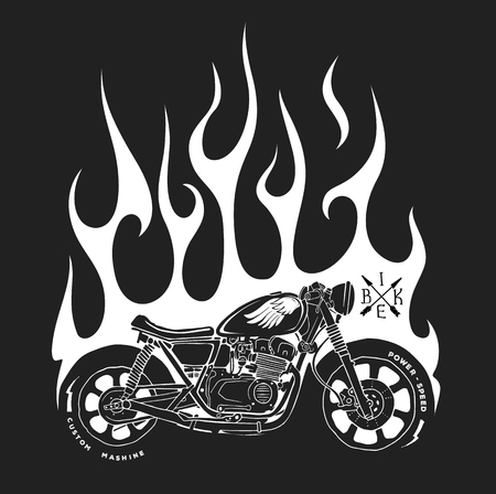 Motorcycle and fire vector t-shirt print design.