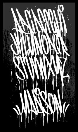 Marker Graffiti Font, handwritten Typography vector illustration. Иллюстрация