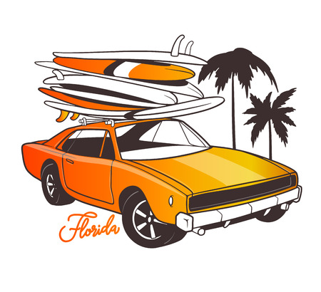 Miami typography for t-shirt print and Retro car with surfboard Ilustrace
