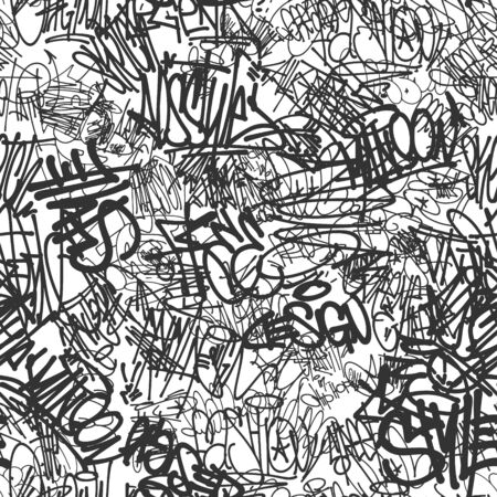 Vector graffiti tags seamless pattern, print design. Stock Illustratie