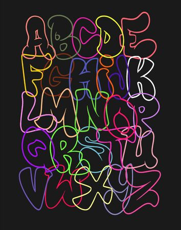 Creative funny font. Hand drawn colorful letters