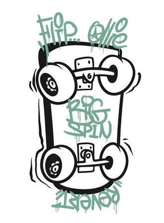 Skate board typography, t-shirt graphics, vectors design