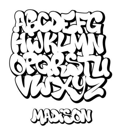 Street Graffiti Font, handwritten Typography vector illustration.