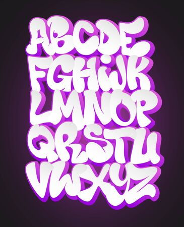 Vector of stylized graffiti font and alphabet.